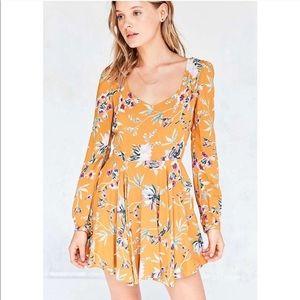 Ecote UO Burnt Orange Floral Long Sleeve Dress